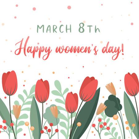 Plantilla de tarjeta de flor de día de la mujer feliz. Fondo floral. Puede usarse como banner Ilustración de vector