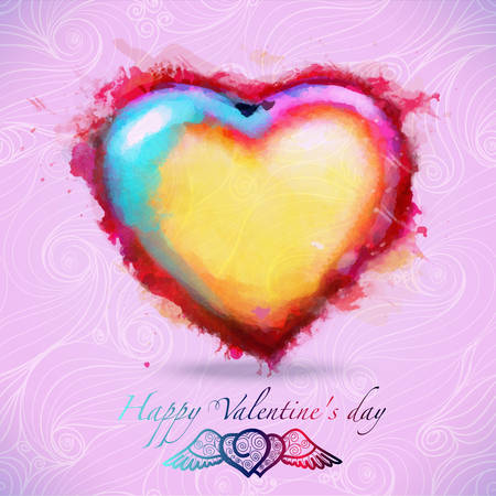 valentine s: Heart shape with watercolors, vector format, handmade, greeting Valentine s gift, decoration for your design,watercolor vector with tag and labeled for congratulation Illustration