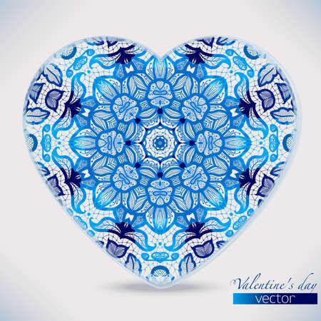 gzhel: Watercolor lace patterns heart shape