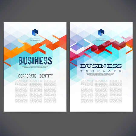 composition book: Abstract vector template design, brochure, Web sites, page, leaflet, with colorful geometric triangular backgrounds Illustration