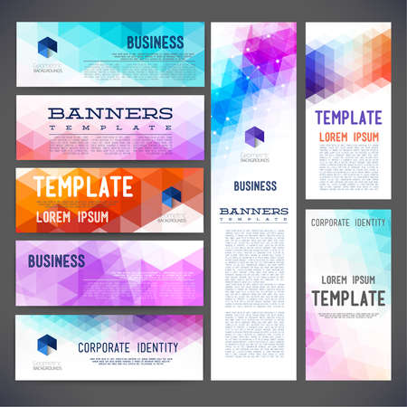 Eight abstract design banners vector template design, brochure, element, page, leaflet, with colorful geometric triangular backgrounds
