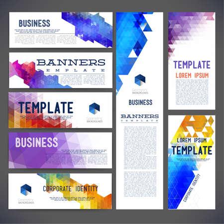 Acht abstract ontwerp banners vector sjabloon ontwerp, brochure, element, pagina, folder, met kleurrijke geometrische driehoekige achtergronden