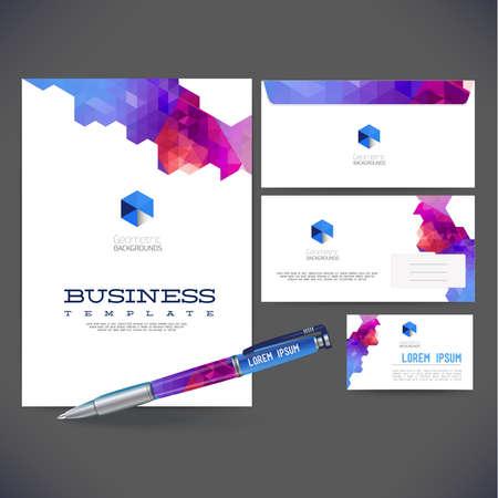 コーポレート ・ アイデンティティ キットまたはあなたのビジネスの功妙な抽象的な幾何学的な要素を持つビジネス キット。