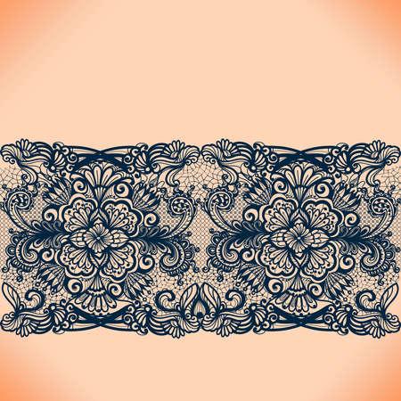 Abstracte kant lint naadloze patroon met elementen bloemen. Het frame ontwerp sjabloon voor kaart. Lace kleedje. Kan worden gebruikt voor het verpakken, uitnodigingen, en sjabloon. Stock Illustratie
