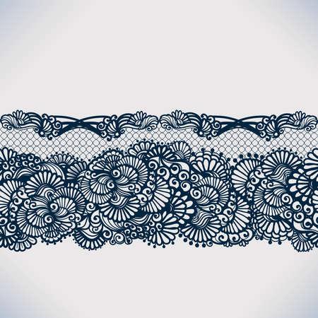 encaje: Cinta de encaje patr�n abstracto sin fisuras con elementos flores. Dise�o del marco del modelo para la tarjeta. Pa�ito de encaje. Puede ser utilizado para el embalaje, las invitaciones, y la plantilla.