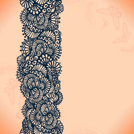 Abstract lace ribbon seamless pattern with elements flowers. Template frame design for card. Lace Doily. Can be used for packaging, invitations, and template.