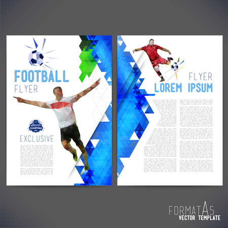 Abstract vector template design, brochure, Web sites, page, leaflet, with colorful geometric triangular backgrounds, logo and text separately. Flyer on a football theme. Ilustrace