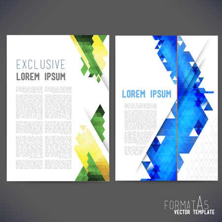 抽象ベクトル テンプレート デザイン、パンフレット、Web サイト、ページ、リーフレット、カラフルな幾何学的三角形の背景、テキストを別々 にし