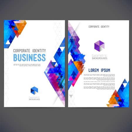 抽象ベクトル テンプレート デザイン、パンフレット、Web サイト、ページ、リーフレット、カラフルな幾何学的三角形の背景、ロゴおよびテキスト  イラスト・ベクター素材