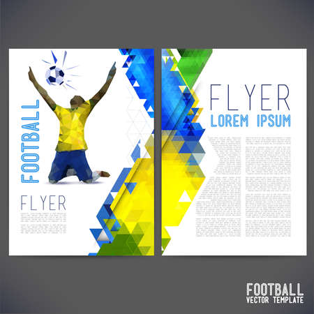 Abstract vector template design, brochure, Web sites, page, leaflet, with colorful geometric triangular backgrounds, text separately. Printing flyer on a football theme.on a football theme.