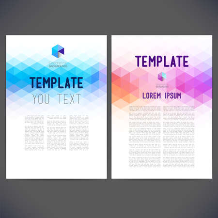 poster background: Abstract design template, brochure, siti web, pagina, foglio, con sfondi colorati geometriche triangolari, logo e testo separatamente.