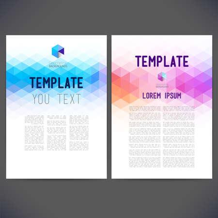 Diseño abstracto del vector, folletos, sitios Web, página, prospecto, con fondos de colores geométricos triangulares, logotipo y texto por separado.