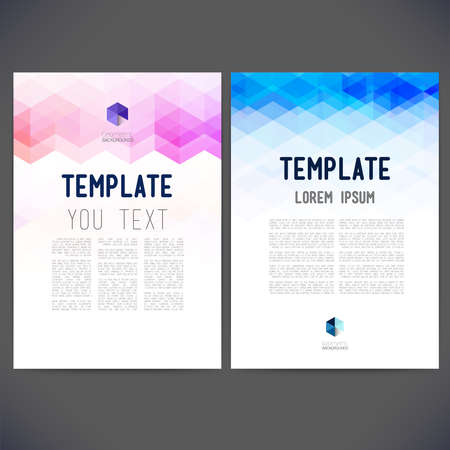 Abstract vector template design, brochure, Web sites, page, leaflet, with colorful geometric triangular backgrounds, logo and text separately. Ilustração