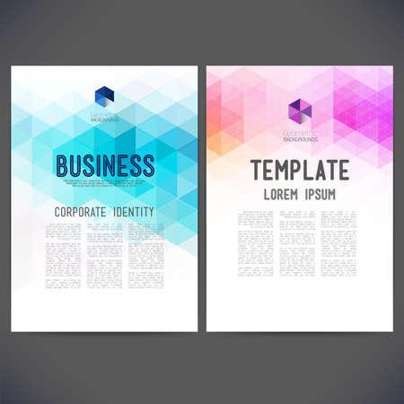 the brochure: Dise�o abstracto del vector, folletos, sitios Web, p�gina, prospecto, con fondos de colores geom�tricos triangulares, logotipo y texto por separado.