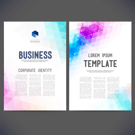 catalog templates: Abstract vector template design, brochure, Web sites, page, leaflet, with colorful geometric triangular backgrounds, logo and text separately. Illustration