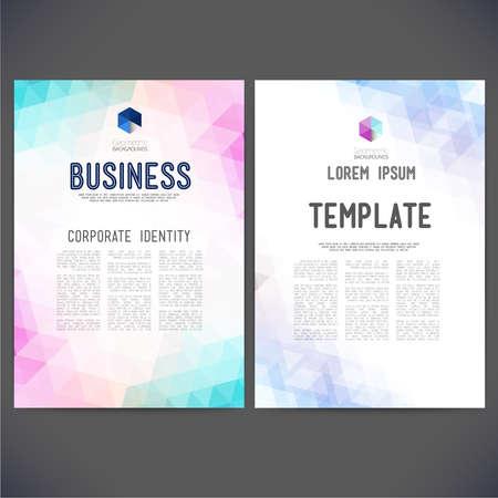 抽象ベクトル テンプレート デザイン、パンフレット、Web サイト、ページ、リーフレット、カラフルな幾何学的三角形の背景、ロゴおよびテキストを別々 にします。 写真素材 - 34031817