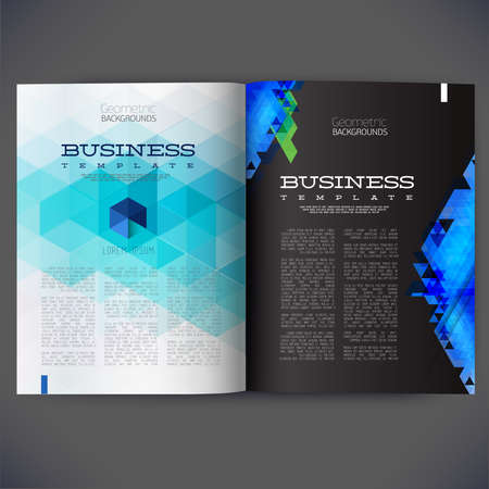 magazine page: Abstract vector template design for the pages of the magazine, brochure, page, leaflet, with colorful geometric triangular backgrounds, logo and text separately. Illustration