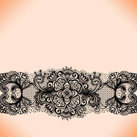 Abstract lace ribbon seamless pattern with elements flowers. Template frame design for card. Lace Doily. Can be used for packaging, invitations, and template. Vector