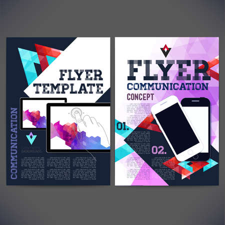 Abstract Flyer, Brochure Design Templates. Web sites, page, leaflet.Geometric Triangular  backgrounds. Tablet, Mobile and computer technologies, Template page marketing kit Concept. Vector