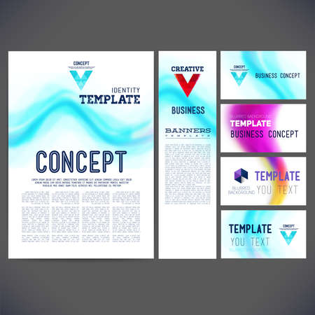 printing business: Set corporate identity kit or business kit with artistic, abstract vector template design, brochure, Web sites, page, leaflet