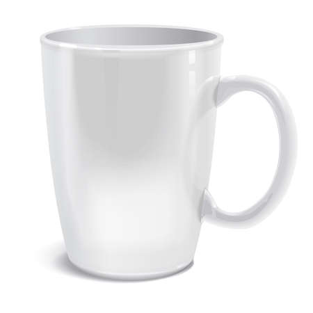 Realistically drawn vector mug for you printed pattern and logo. You can apply any of your design.