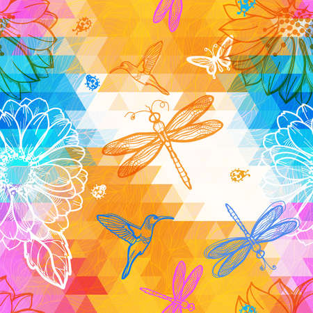 Seamless abstract wallpaper geometric pattern of triangles, flowers, butterflies, birds, dragonflies and beetles. Work of authorship mix of geometry and graphics.