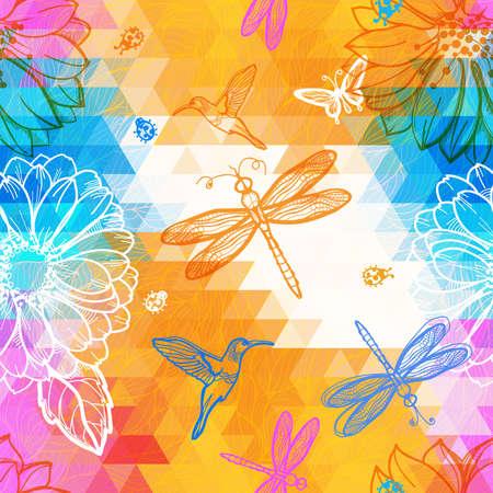 batik: Seamless abstract papier peint motif g�om�trique des triangles, des fleurs, des papillons, des oiseaux, libellules et les col�opt�res. ?uvre de m�lange de la g�om�trie et des graphiques.