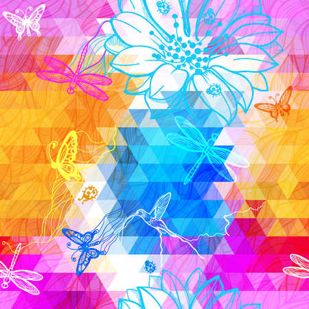 authorship: Seamless abstract wallpaper geometric pattern of triangles, flowers, butterflies, birds, dragonflies and beetles. Work of authorship mix of geometry and graphics.