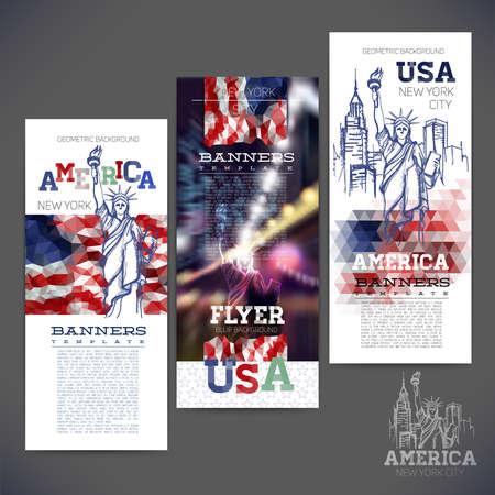 リバティのスケッチ図像が、アメリカの抽象的な幾何学的背景フラグ。バナー広告、チラシ、リーフレット、パンフレットのデザイン。  イラスト・ベクター素材