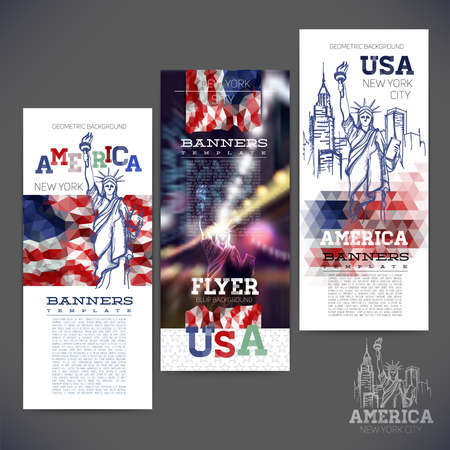 Abstract geometric background flag of USA, with a sketch picture statue of Liberty. Design of banners,flyers,leaflets, brochures. Illustration