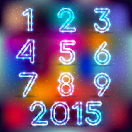 color backgrounds: Neon glowing set of numbers on color backgrounds. Vector graphics ideal for decoration on any background. New Year