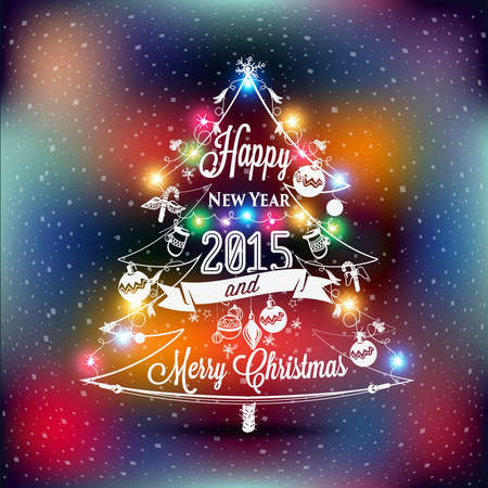 christmas lights: Christmas and New year label with colored lights on a Christmas tree, decoration of calligraphic design with typographic labels, symbols of the year and icons elements for you. Hand drawn authors work.