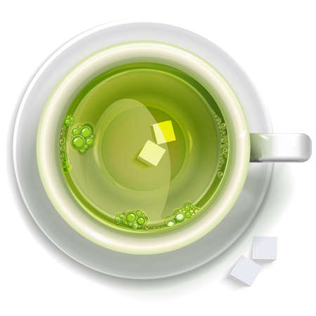 directly above: A cup of green tea with sugar stands on a saucer, top view. Vector format for your design.