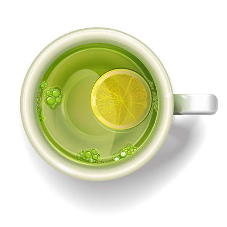 coffee cup vector: Cup of green tea with a slice of lemon. illustration realistic vector.