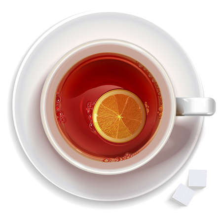 black tea: Cup of black tea with lemon and sugar standing on a saucer (plate). Illustration realistic vector.
