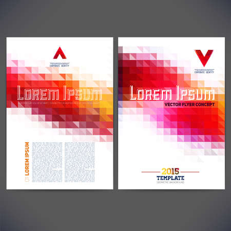 graphic texture: Abstract vector template design, brochure, Web sites, page, leaflet, with colorful geometric triangular backgrounds, logo and text separately. Illustration