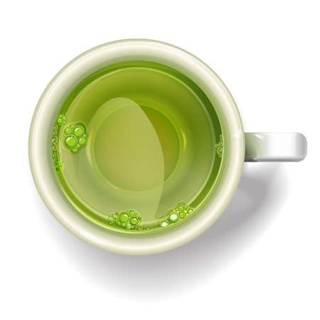 babble: Cup of green tea isolated on white background. Illustration realistic vector. Illustration