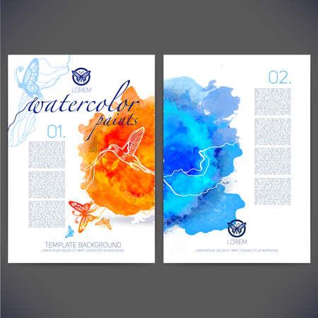 色の蝶や鳥、チラシ ・ パンフレット、Web サイト、ページ、リーフレット、カラフルな水彩画の背景、アイコン、ロゴおよびあなたのために別にテ