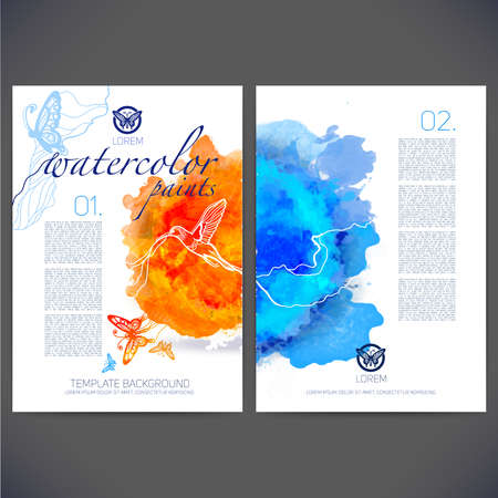 printing icon: Abstract vector template design with colored butterflies and birds,flyer brochure,Web sites,page,leaflet,with colorful watercolor backgrounds, icons, logo and text separately for you.