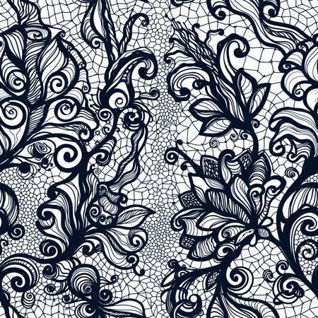 花と抽象的なシームレスなレース パターン。無限の壁紙デザイン、ランジェリー、宝石の装飾。招待カード、壁紙など。