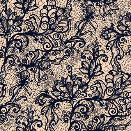black pattern: Abstract seamless lace pattern with flowers. Infinitely wallpaper, decoration for your design, lingerie and jewelry. Your invitation cards, wallpaper, and more.