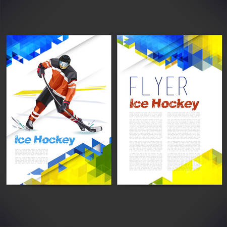 Vector concept of ice hockey player with geometric background of geometric shapes and combination of different forms assembled in the shape of the player. When you click on the hockey field