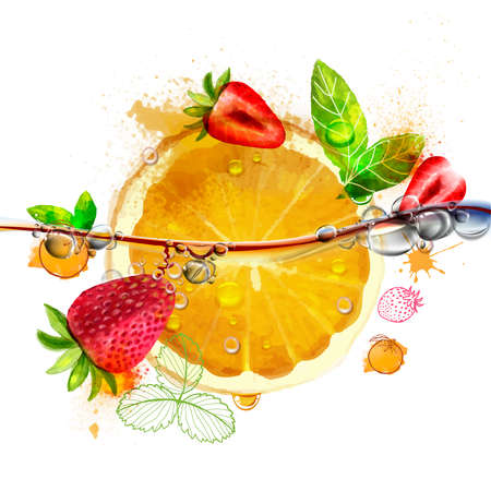 Juicy bright orange and strawberry fruit with leaf and water drops, vector work Ilustracja