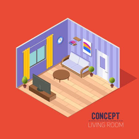 oncept room 3d, a lounge with a sofa and TV, a living room with a window and door curtains, isometrics composition Illustration
