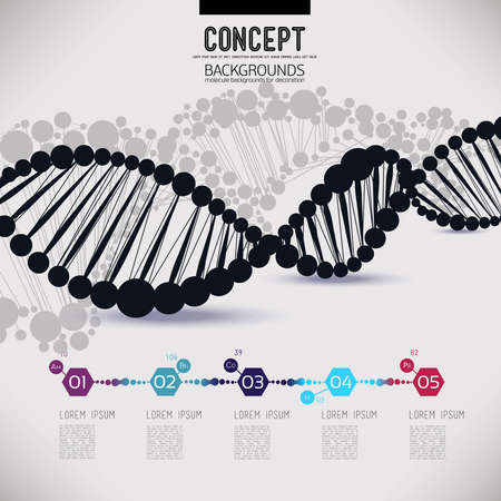 Abstract black geometric lattice DNA, the scope of molecules, the molecules in the circle. Round composition of the molecular lattice.Color picture composition for your design.