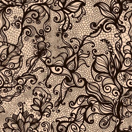 Vector kant naadloos patroon van decoratieve bloemen, bladeren, verweven met viskeuze lijnen. Oneindig behang, decoratie uw ontwerp, lingerie en uitnodiging jewelry.Your kaarten, behang, en nog veel meer.