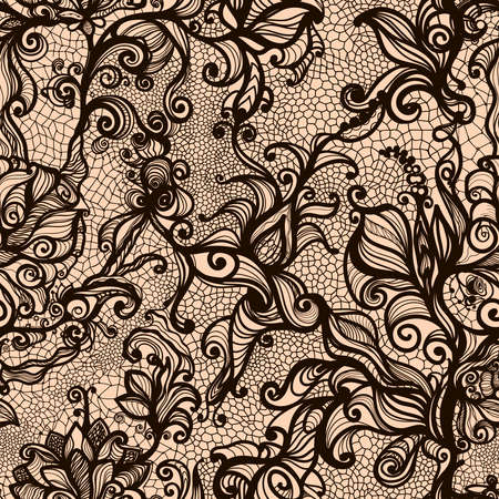 classic tattoo: Vector lace seamless pattern of decorative flowers,leaves,intertwined with viscous of lines. Infinitely wallpaper,decoration your design,lingerie and jewelry.Your invitation cards, wallpaper,and more.