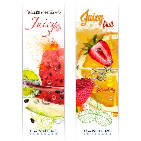 Banner with fruit in water splashes and drops of water juicy fruit watermelon, strawberry, orange, lime, watercolor, author's work. Ilustração
