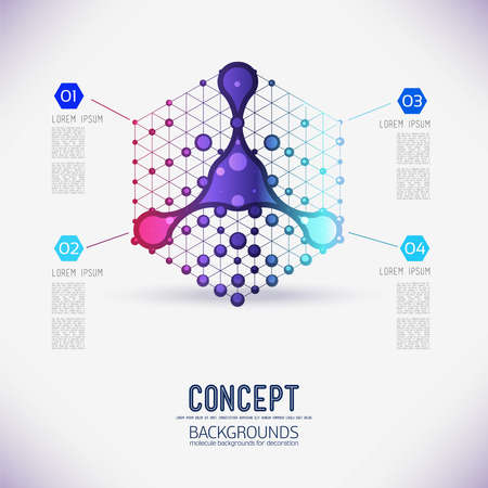 Scope: Abstract concept geometric lattice cube and chemical element in the middle, the scope of molecules, in the hexagon.Color composition vector for your design.