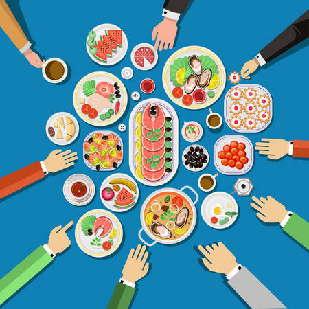cartoon party: Ð¡atering party with people hands and a table of dishes from the menu, top view. Vector flat illustration.Catering business Illustration
